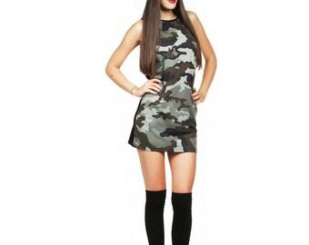 Military dress/ Military top/military tunic/ Military print/ Black back/ Casual dress