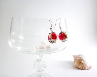 Red drop earrings, red dangle earrings, fashion jewelry, poppy chandelier earrings, Romantic summer earrings, elegant clear earrings