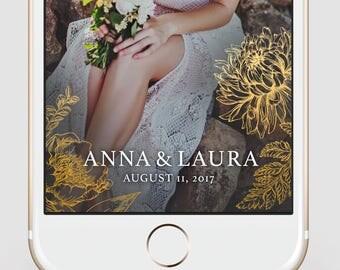 Wedding Snapchat Geofilter   Custom Snapchat Geofilter   Gold Floral   Snapchat Filter