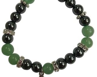8mm Green Aventurine/ Hematite with Triquetra Stretch Bracelet