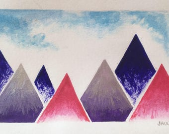 Painting - mountains besides - colorful Triangles geometric watercolor and acrylic