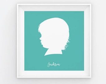 Kid Profile Silhouette, Custom Silhouette from your photo, Silhouette Art, Kid Silhouette Portrait, Birthday Gift, Mother's Day Gift