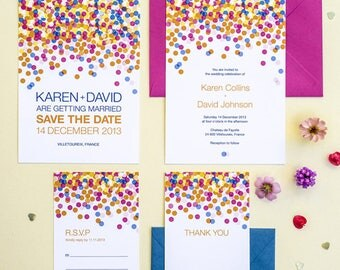 Colorful Confetti Wedding Invitation Suite of 4 Digital Printable