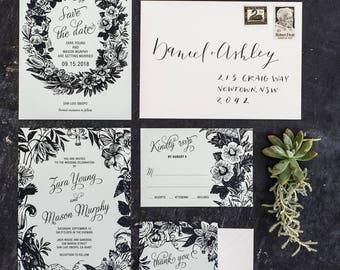 Botanical Flora Wreath Wedding Invitations Printable Set of 4