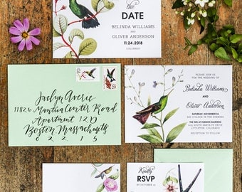 Set of 4 Wedding Invitation Printable, Botanical Hummingbirds