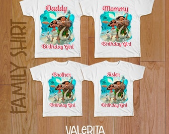 4 Moana Iron On Transfer, Moana family shirts, Moana Birthday Girl, Moana birthday shirt, Moana Tshirt Transfer, Moana shirt, Moana iron on