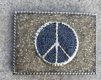 Peace Sign Beaded Belt Buckle