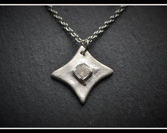 Detailed Square CZ Pendant - Silver Precious Metal Clay (PMC), Handmade, Necklace - (Product Code: ACM016-17)