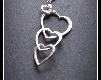 Hearts Drop Pendant - Silver Precious Metal Clay (PMC), Handmade, Necklace - (Product Code: ACM39-17)