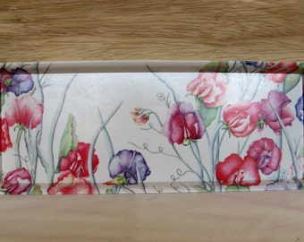 Melamaster 1980s Melamine Tray Rectangular with Colorful Floral Design