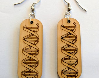 DNA Double Helix Earrings laser engraved on solid alder wood