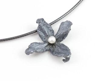 925 Silver dark Pearl Flower necklace