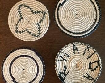 "Set of 4 African ""Rwanda"" Woven Coasters in Basket"