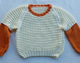 Childs' Kids' Girls' Boys' Hand Knitted Sloppy Jumper Size 3 - 5 years (Please See Measurement Diagram)