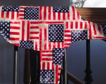 Dog vest Reversible, patriotic puppy clothes flag motif pattern Memorial Day Fourth of  July Veterans Day