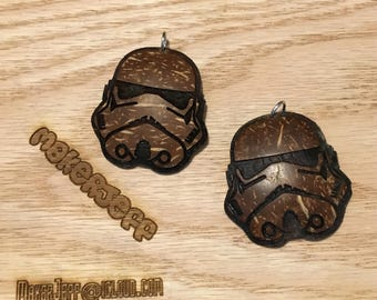 Storm Trooper, hand made  Brown coconut shell pendant charm