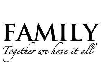 Family home decor decal