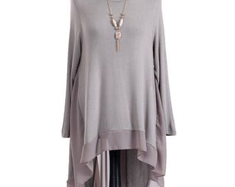 SALE!! FREE Shipping!! Beautiful Lagenlook High Low Chiffon Dress One Size - Plus Size