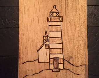 Lighthouse Wood Sign / Custom Stained Wood / Rustic Wood Burnt Lighthouse / Beach House Sign / Kids Room / Wall Hanging / Birthday Present