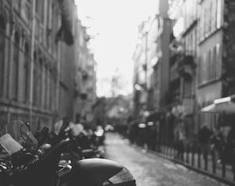 Paris Motorcycles at Dusk - Art Print
