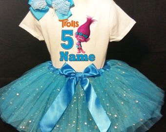 Trolls 5th Fifth 5 Birthday Dress ***With NAME***  Fast Shipping Blue party Shirt & Tutu outfit