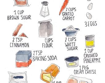 Carrot Cake Recipe Card
