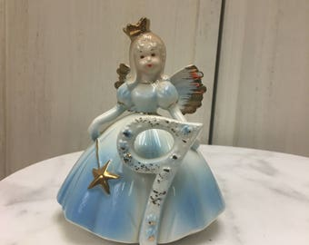 Vintage, Josef Original, birthday angel age 9, vintage collectable, cake topper, keepsake