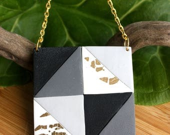 Square Pendant Necklace~ Geometric Necklace~ Handmade Jewellery~ Polymer Clay~ Square Pendant~ Gold Leaf Jewellery