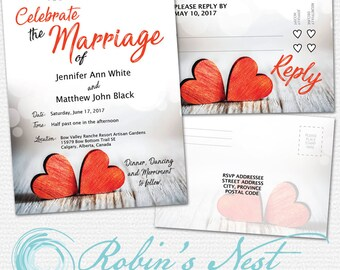 Red Wooden Hearts Wedding Invitation/RSVP Card Template