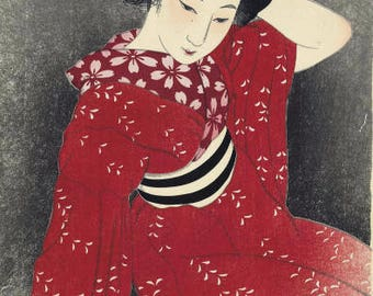 "Japanese Art Print ""Spring (Red Kimono)"" by Shinsui Ito, woodblock print reproduction, fine art, asian art, cultural art, traditional"