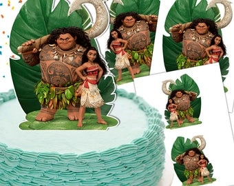 Moana Cake Topper Double-Sided/Moana Centerpiece/Moana Topper/Moana & Maui cake Topper/Moana Party/Printable