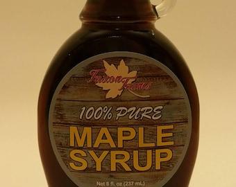 Pure Maple Syrup - Faxon Farms - 8 oz Glass (Grade A Amber)