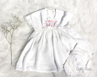 Birthday baby dress, white baby dress, flower baby dress, lace baby dress, summer baby dress, Embroidery dress, wedding baby dress, vintage