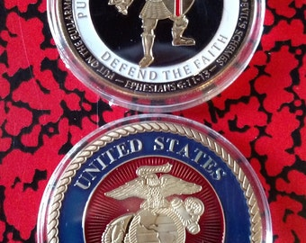 Armor of God USMC Marine Corps Challenge Art Coin