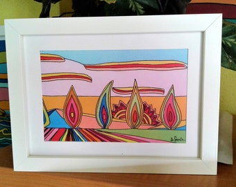 Field of tulips. Lamina framed photograph of original painting. 1st copy. Limited series.