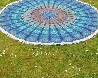 Circle Mandala Patterned Throw/Wall Hanging in Navy & Teal