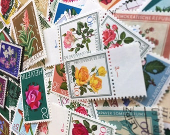 Vintage postage stamps (set of 50+)- topical collection- various flowers- off paper