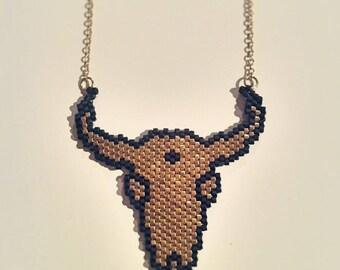 Of Buffalo skull necklace Pearl Miyuki