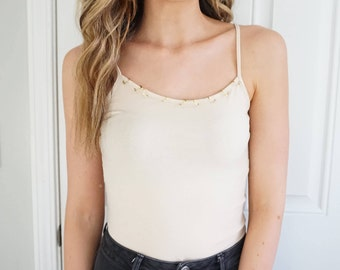 Tan Tank Top with Gold Ring Detail