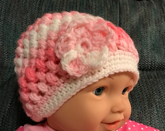 Baby girl crocheted puff stitch hat