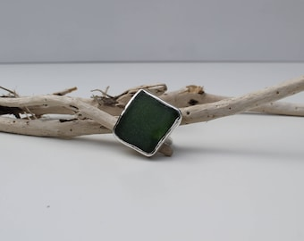 Green sea glass and silver ring