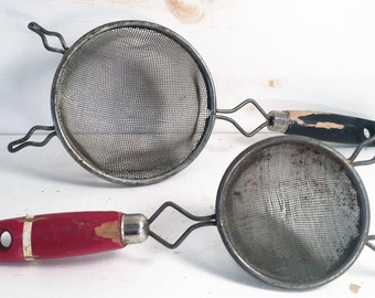Pair of Small Vintage Farmhouse Kitchen Handheld Strainers/Farmhouse Kitchen Tool and Gadgets/Farm Style Kitchen Cooking Utensils