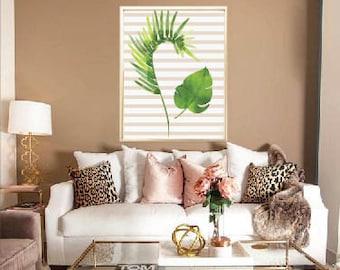 Palms wall art | Palms print | striped palms printable | palms home decor | Palms digital file .JPG |