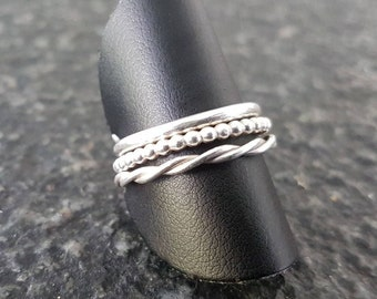 Silver stack rings set (Basic, Pearl wire and twisted)
