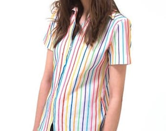 New York Vintage Multi Stripe Short Sleeve Top