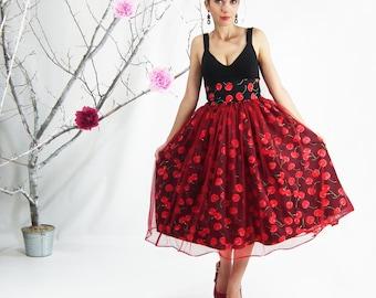 1950's Skirt, Pin up Skirt, Plus Size 1950's Skirt, Maxi Skirt, Cherry Skirt, Plus Size 1950's Dress, High Waisted Skirt, Plus Size Pin up