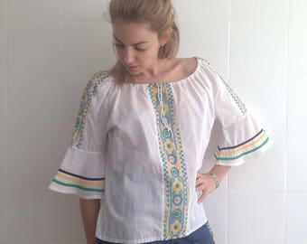cotton shirt embroidered in green yellow and blue, European size medium