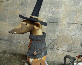 Primitive Halloween Witch Mouse/trick or treat/doll/handmade/prim/primitive witch/primitive mouse/pumpkin/jack
