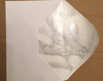 5 lined envelopes - marble