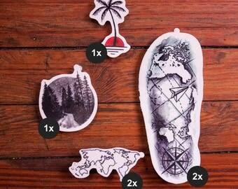 Wanderlust – Travel Tattoos - Temporary Tattoo (Set of 6)